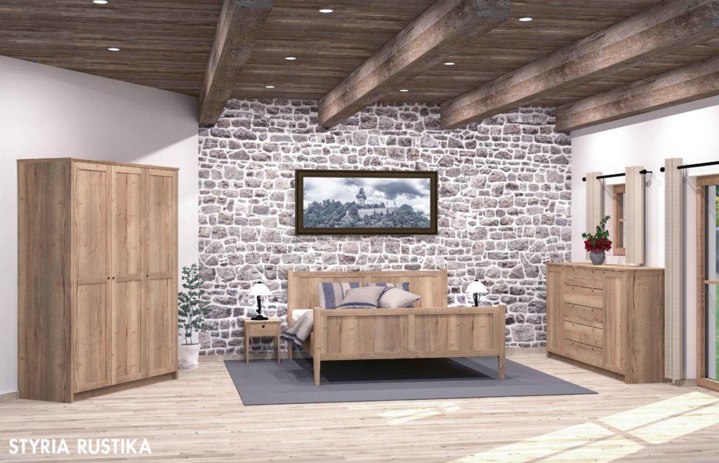 Musterbeispiel für ein Schlafzimmer aus Holzmöbeln