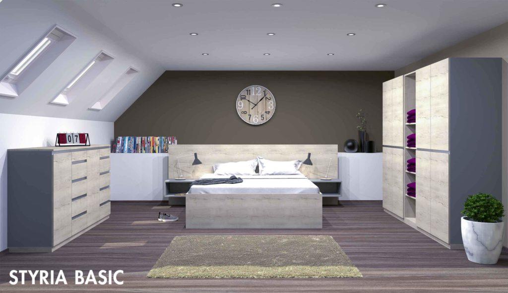 Muster für ein Schlafzimmer aus Holzmöbeln