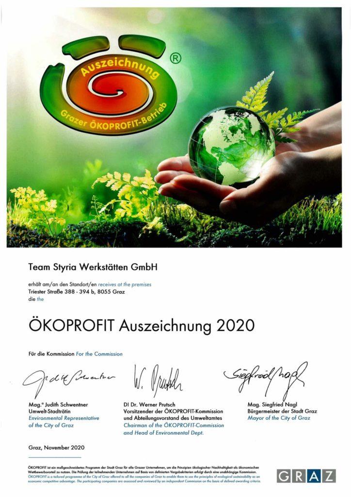 ÖKOPROFIT Auszeichnung 2020 der Stadt Graz