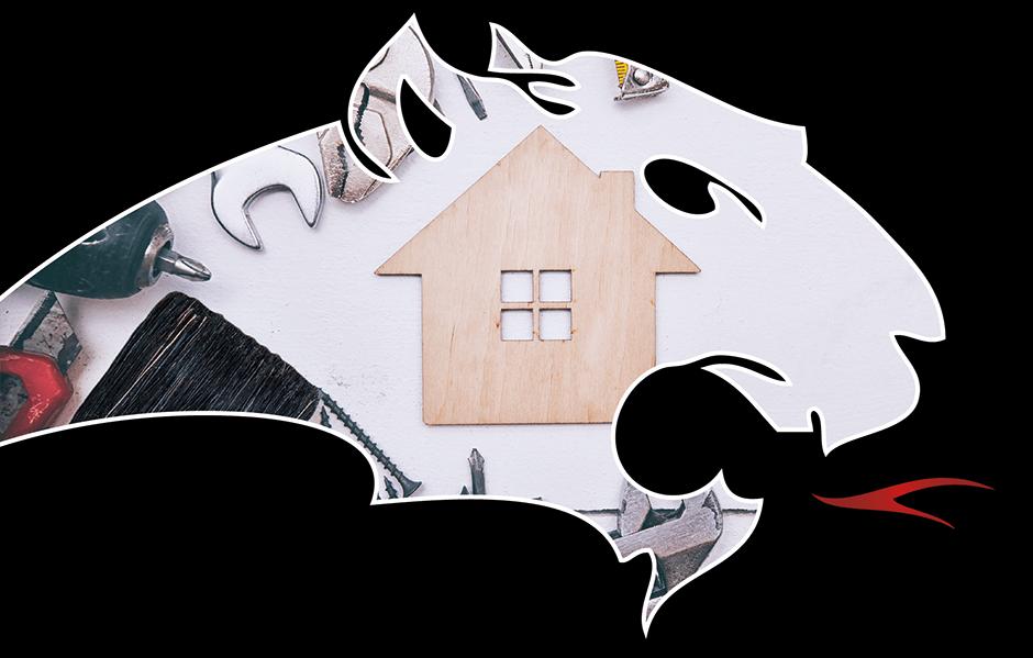 Pantherkopf mit Bild eines Holzhauses und Werkzeug
