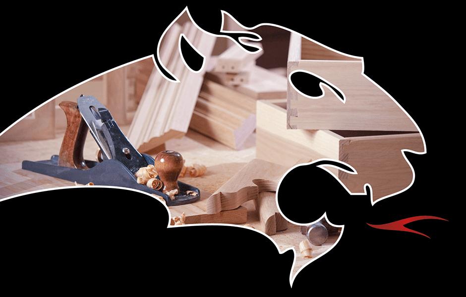 Pantherkopf mit Bild von Holz