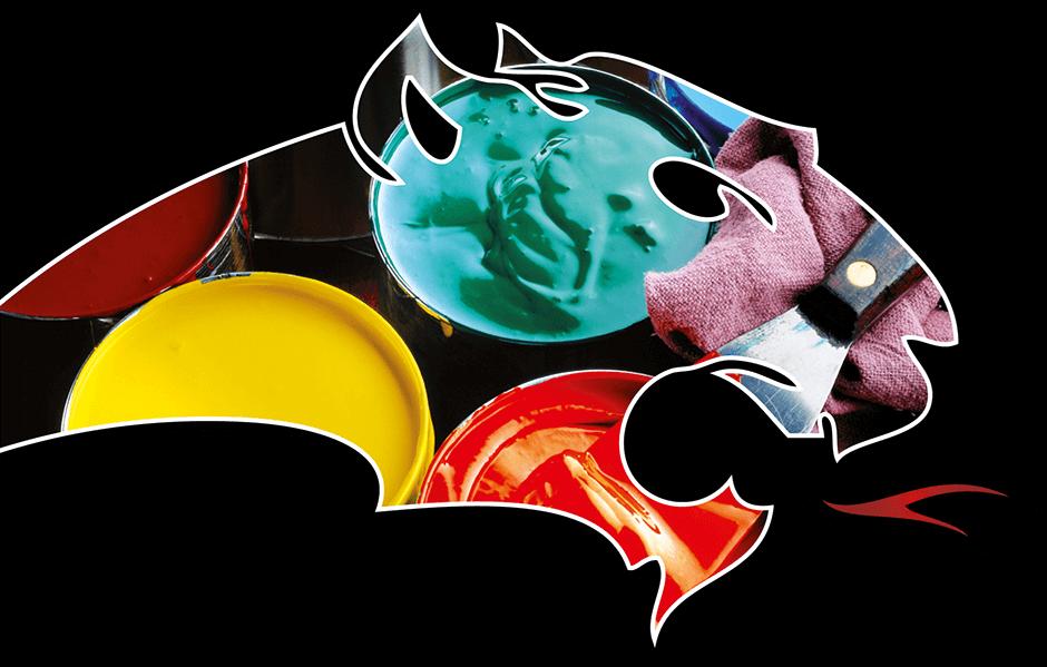 Pantherkopf mit Bild von Farbeimern