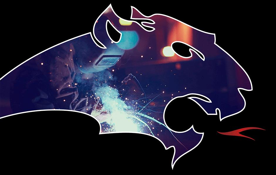 Pantherkopf mit Bild von einem Schweißer